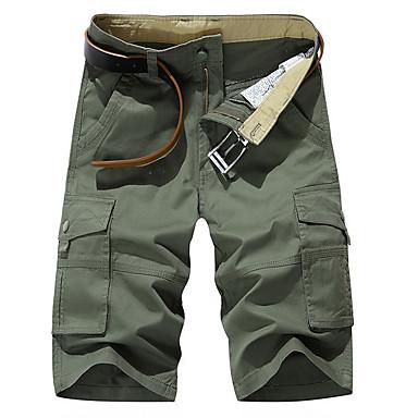 Недорогие Мужские брюки, шорты и т.д.-Муж. Классический Повседневные Свободный силуэт Шорты Брюки-карго Брюки - Однотонный Лето Военно-зеленный Хаки US32 / UK32 / EU40 / US34 / UK34 / EU42 / US36 / UK36 / EU44