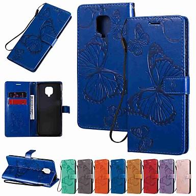 Недорогие Чехлы и кейсы для Xiaomi-чехол для xiaomi mi 10 xiaomi mi 10 pro redmi note 9 pro держатель для бумажника с подставкой для всего тела чехлы бабочка искусственная кожа тпу для redmi k30 redmi note 8 redmi note 8 pro