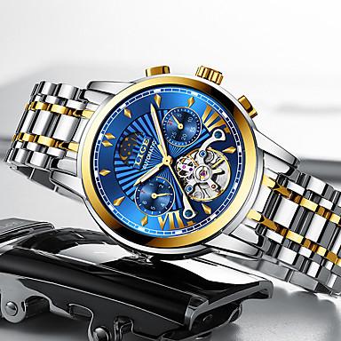 Недорогие Часы на металлическом ремешке-LIGE Муж. Механические часы С автоподзаводом Современный Стильные Классика Защита от влаги Аналоговый Чёрный / Серебряный Черный + Gloden Белый + Gold / Нержавеющая сталь / Нержавеющая сталь