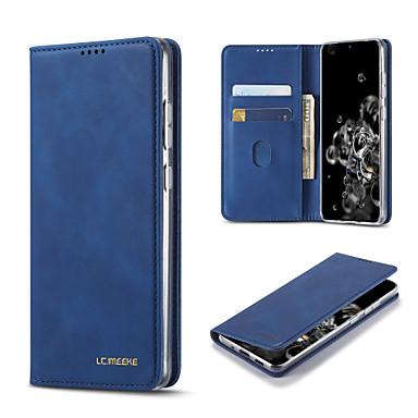 Недорогие Чехол Samsung-чехол для samsung galaxy s20 / s20 plus / s20 ultra / s10 / s10 plus / s10e / s9 / s9 plus / s8 / s8 plus / note 10 / note 10 plus / note 9 / a10 держатель карты / противоударный / откидной полный