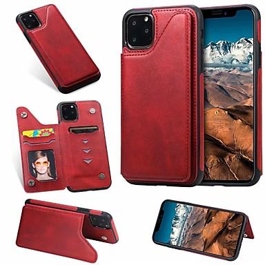 Недорогие Кейсы для iPhone-чехол для apple iphone se 2020/11 / iphone 11 pro / держатель карты iphone 11 pro max / с подставкой и задней крышкой из цельной кожи pu для iphone x / xr / xs / xs max / 7plus / 8plus / 7/8