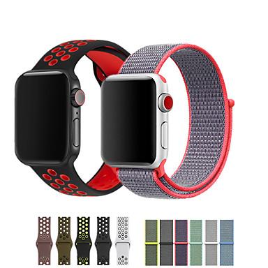 Недорогие Аксессуары для смарт-часов-ремешок для часов для apple watch series 5/4/3/2/1 apple sport band силиконовый / нейлоновый ремешок на запястье 2шт