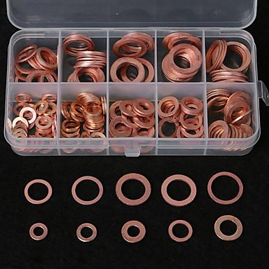 Недорогие Наборы Сделай-сам-Комплект прокладки шайбы меди m5-m14 плоский комплект уплотнения кольца с случаем коробки для хранения