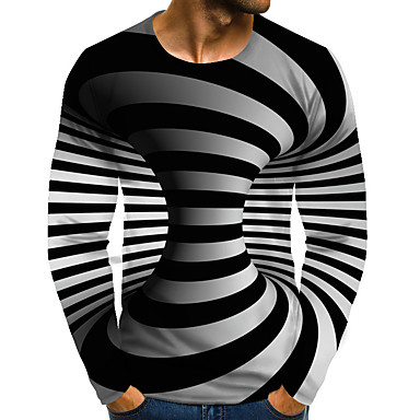 ieftine Bluze Bărbați-Bărbați Zilnic Mărime Plus Size Tricou Grafic 3D Print Imprimeu Manșon Lung Topuri Șic Stradă Exagerat Rotund Curcubeu