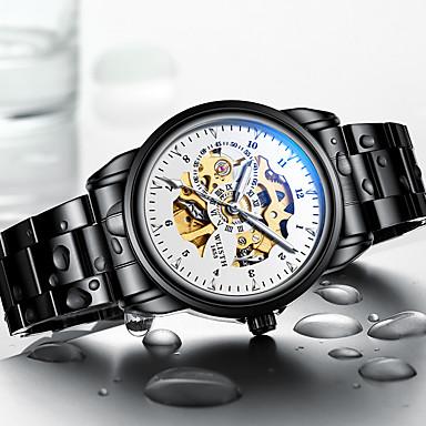 Недорогие Часы на металлическом ремешке-WLISTH Муж. Механические часы С автоподзаводом Современный Стильные Мода Защита от влаги Аналоговый Белый Черный Синий / Два года / Нержавеющая сталь / Фосфоресцирующий / Два года