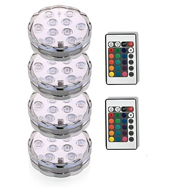 cheap Outdoor Lights-4pcs 3W Submersible Lights Underwater Lights Waterproof Remote Controlled  Decorative RGB 5.5V Swimming pool Suitable for Vases & Aquariums 10 LED Beads