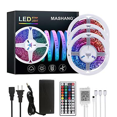 voordelige LED & Verlichting-mashang 15m (3 * 5m) led strip verlichting rgb tiktok verlichting 900leds flexibele kleurverandering smd 2835 met 44 toetsen ir afstandsbediening en 100-240v adapter voor thuis slaapkamer keuken tv