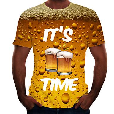 זול טישרטים לגופיות לגברים-בגדי ריקוד גברים טישרט גראפי בירה דפוס צמרות בסיסי צווארון עגול שחור פול אודם / שרוולים קצרים / קיץ