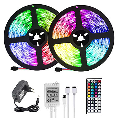 economico LED e illuminazione-LOENDE 2x5m Strisce luminose LED flessibili Set luci Strisce luminose RGB 600 LED 2835 SMD 8mm 1 set Colori primari Natale Capodanno Creativo Accorciabile Decorativo 12 V / Auto-adesivo