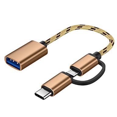 billige Telefonkabler og -adaptere-2 i 1 usb 3.0 otg adapterkabel for samsung nylon flette mikro usb type c datasynkroniseringsadapter for huawei for macbook type-c otg