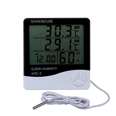 billige Tilbehør til fisk og akvarier-lcd digital temperatur luftfugtighed meter hjemme indendørs udendørs hygrometer termometer vejrstation med ur