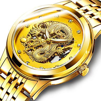 Недорогие Часы на металлическом ремешке-WEISIKAI Муж. Механические часы С автоподзаводом Старинный Классический Роскошь Защита от влаги Нержавеющая сталь Золотистый Аналоговый - Белый Черный Золотой / Фосфоресцирующий