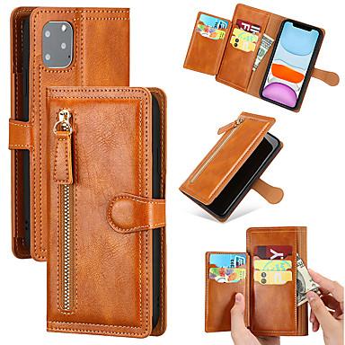 Недорогие Кейсы для iPhone-чехол для яблока / samsung galaxy wallet / противоударный чехол для всего тела / бампер однотонная кожа pu