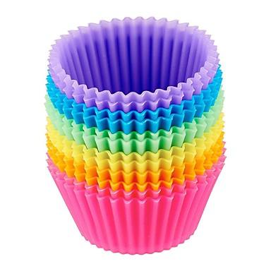 ieftine Ustensile & Gadget-uri de Copt-12 buc reutilizabile cupe de copt din silicon forme de brioșă antiaderentă pentru brioșe torturi cupcakes