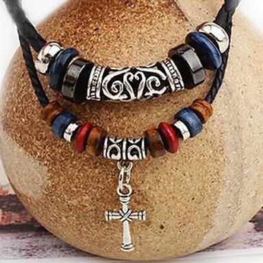 Недорогие Ожерелья-Муж. Ожерелья с подвесками Крест Панк Кожа Хром Черный 45 cm Ожерелье Бижутерия Назначение