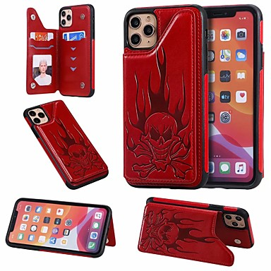 Недорогие Кейсы для iPhone-Кейс для Назначение Apple iPhone 11 / iPhone 11 Pro / iPhone 11 Pro Max Бумажник для карт / со стендом Кейс на заднюю панель Черепа Кожа PU