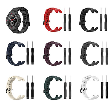 baratos Pulseira para Amazfit-Pulseira de relógio para amazfit t-rex a1918 amazfit sport band fivela clássica pulseira de silicone