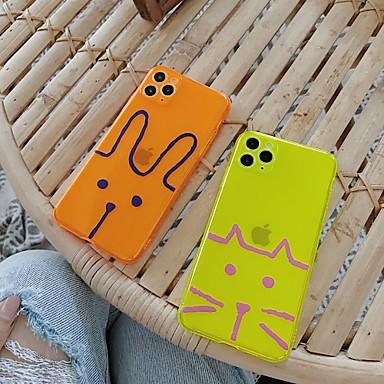 Недорогие Кейсы для iPhone-Кейс для Назначение Apple iPhone 11 / iPhone 11 Pro / iPhone 11 Pro Max Полупрозрачный / С узором Кейс на заднюю панель Животное / Мультипликация ТПУ