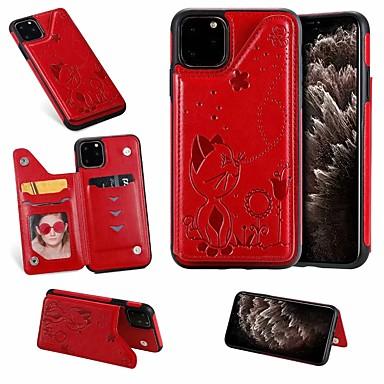 Недорогие Кейсы для iPhone-чехол для apple iphone se 2020/11 / iphone 11 pro / держатель карты iphone 11 pro max / с подставкой и задней крышкой кошка из искусственной кожи для iPhone x / xr / xs / xs max / 7plus / 8 plus / 7/8