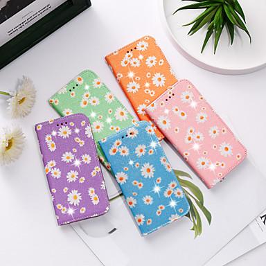 Недорогие Чехол Samsung-Кейс для Назначение SSamsung Galaxy Galaxy S10 Lite / Samsung Note 10 / A91 / M80S Кошелек / Бумажник для карт / со стендом Чехол Сияние и блеск / Цветы Кожа PU