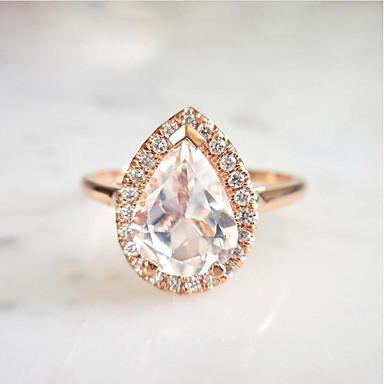 baratos Anéis-Mulheres Anel 1pç Rosa Dourado Cobre Rosa Folheado a Ouro Pera Fashion Aniversário Festa Jóias 3D Precioso Pêra