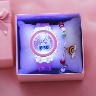 voordelige Dameshorloges-kinderen Digitaal horloge Klassiek Modieus Roze Silicone Digitaal Blozend Roze Chronograaf Schattig LED Lamp 1 set Digitaal / s Nachts oplichtend