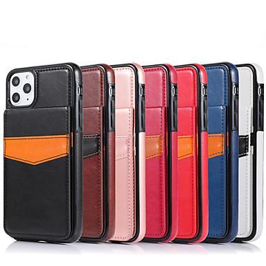 Недорогие Кейсы для iPhone-чехол для apple iphone 7/8 / 7p / 8p / x / xs / xr / xs max / 11/11 pro / 11 pro max / se 2020 держатель карты / противоударная задняя крышка из цельного цвета искусственной кожи / тпу