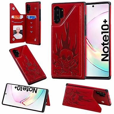 Недорогие Чехол Samsung-Кейс для Назначение SSamsung Galaxy Note 9 / Note 8 / Galaxy Note 10 Бумажник для карт / со стендом Кейс на заднюю панель Черепа Кожа PU
