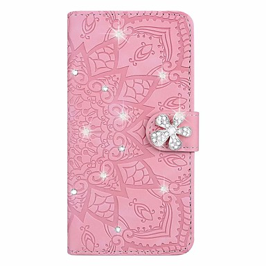 Недорогие Чехлы и кейсы для Xiaomi-Чехол для xiaomi redmi k30 xiaomi redmi 7 xiaomi mi 8 lite держатель бумажника карты горный хрусталь чехлы для всего тела цветок искусственная кожа для note10 pro note10