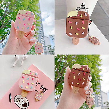 abordables Estuches AirPods-lindo rosa helado de paleta helado bluetooth inalámbrico suave funda de silicona para apple airpods 2 carga auriculares cubierta funda correa anillo