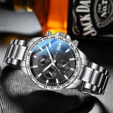Недорогие Часы на металлическом ремешке-Муж. Механические часы С автоподзаводом Современный Спортивные На каждый день Защита от влаги Аналоговый Белый Черный Черный / Белый / Нержавеющая сталь / Фосфоресцирующий