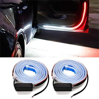 """זול תאורה לרכב-2 יחידות דלת מכונית מנורת אזהרה אוטומטית דלת רצועת אור אורות פתוחים אוניברסלי דלת פתוחה Strobe מנורות אווירת 120 ס""""מ רצועות ניתנות 12 v"""