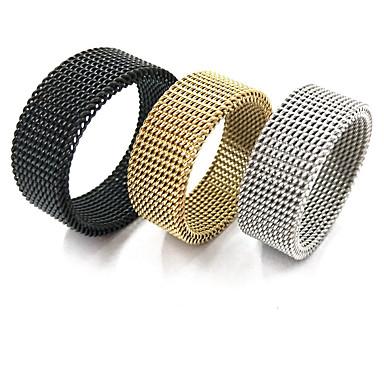 お買い得  指輪-男性用 指輪 ローズゴールド ブラック ゴールド ステンレス鋼 円形 スタイリッシュ パンク 欧風 贈り物 デート ジュエリー 耐磨的