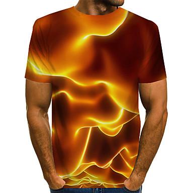זול טישרטים לגופיות לגברים-בגדי ריקוד גברים טישרט גראפי להבה דפוס צמרות בסיסי מוּגזָם צווארון עגול צהוב / שרוולים קצרים