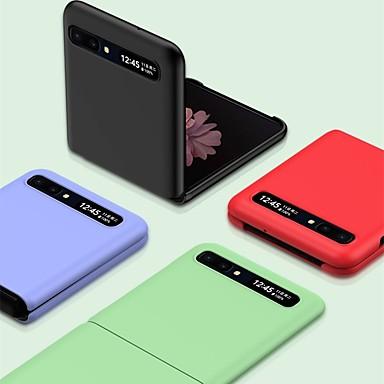 Недорогие Чехол Samsung-чехол для samsung galaxy galaxy z откидная задняя крышка сплошной цветной тпу