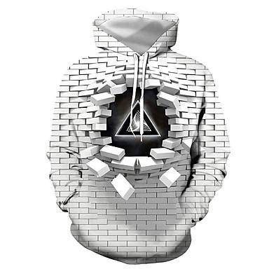 halpa 2020 Trends-Miesten Pluskoko Huppari Geometrinen 3D Kirjain Hupullinen Vapaa-aika Katutyyli Hupparit paidat Ohut Harmaa / Syksy / Talvi