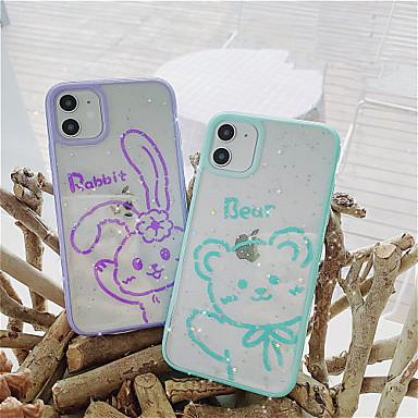 Недорогие Кейсы для iPhone-чехол для яблока iphone6 6s 7 8 6plus 6splus 7plus 8plus iphonex xr xs xsmax iphonese (2020) iphone 11 11pro 11promax противоударный полупрозрачный рисунок задняя крышка с блестками животных блеск тпу