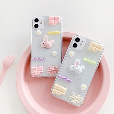 Недорогие Кейсы для iPhone-чехол для iphone7 8 7plus 8plus xr xs xsmax x se 11 11pro 11promax полупрозрачный кролик мультфильм цветок шоколад задняя крышка тпу