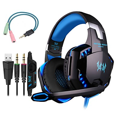 hesapli Kulaklık Setleri ve Kulaklıklar-Kotion each g2000 oyun kulaklığı 7.1 kanal ses bas kulaklıklar pc bilgisayar için kulaklık ve mikrofon adaptörü ile led mikrofon inline kontrol paketi ps4 xbox