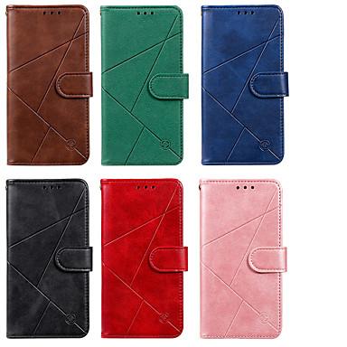 Недорогие Чехлы и кейсы для Nokia-чехол для нокиа нокиа 3.2 2.2 7.2 держатель карты флип-узор чехлы для всего тела искусственная кожа тпу линии сплошной цвет геометрический рисунок магнитный