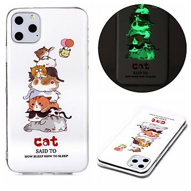 Недорогие Кейсы для iPhone-чехол для apple iphone se 2020 iphone 11 pro iphone 11 pro max xr xs max 7 8 плюс 6 5 г светящиеся в темноте задняя крышка кошка тпу