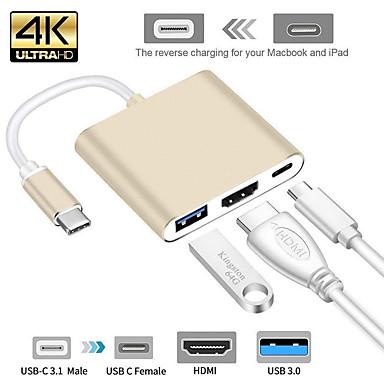 levne Kabely a adaptéry-USB 3.1 Type C - HDMI 2.0 / USB 3.0 / USB 3.1 Type C Samec-samice 0,15 m (0.5Ft)