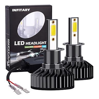 Недорогие Автомобильные фары-Infitary 2 шт. f2-cob h3 светодиодные фары автомобиля 72 Вт 6500 К авто светодиодные автомобильные лампочки для универсального автомобиля