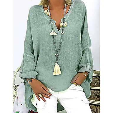 cheap Blouses & Shirts-Women's Causal Plus Size T-shirt Solid Colored Long Sleeve Loose Tops V Neck White Black Blushing Pink