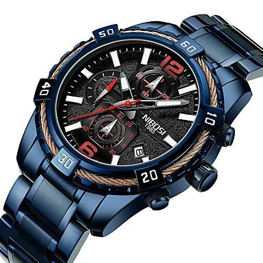 Недорогие Часы на металлическом ремешке-NIBOSI Муж. Спортивные часы Кварцевый Спортивные На каждый день Защита от влаги Аналого-цифровые Черный Синий / Нержавеющая сталь / Календарь / Секундомер / Фосфоресцирующий