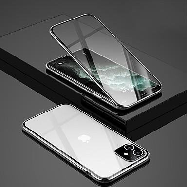 Недорогие Кейсы для iPhone-металлический магнитный чехол для iphone 11 pro max iphone se (2020 г.) iphone xs max 360-градусное двухстороннее закаленное стекло металлические корпуса защищают камеру для iphone 6 6s plus iphone 7