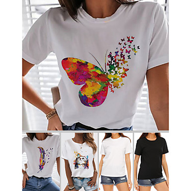 cheap Tees & Tank Tops-Women's T-shirt Rainbow Graphic Prints Print Round Neck Tops 100% Cotton Basic Spring Summer Butterfly White Black
