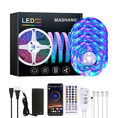 halpa LED ja valaistus-Mashang 20m led nauhat valot rgb led valot nauhat musiikin synkronointi 1200levyt led nauhat 2835 smd värinvaihto led nauhat vaalean bluetooth ohjain ja 40 avainta kauko led led valot makuuhuoneen