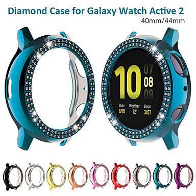 Недорогие Аксессуары для смарт-часов-двухрядные бриллиантовые часы для samsung galaxy active 2 44мм 40мм блестящая крышка хрустальный бампер покрытый металлом жесткий защитный каркас