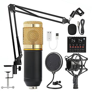 Недорогие Аудио и видео аксессуары-Комплекты студийного микрофона BM 800 с фильтром Звуковая карта V8 Конденсаторный микрофон Комплект записи KTV Караоке смартфон микрофон